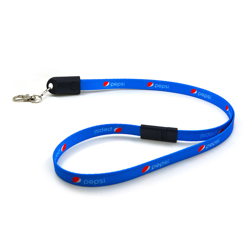 90cm Custom 2-in-1 Charging Cable Lanyard With Easy Breakaway