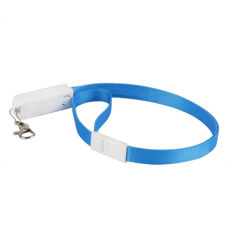 Custom Logo 3 In 1 Lanyard Charging Cable With Safety Lock