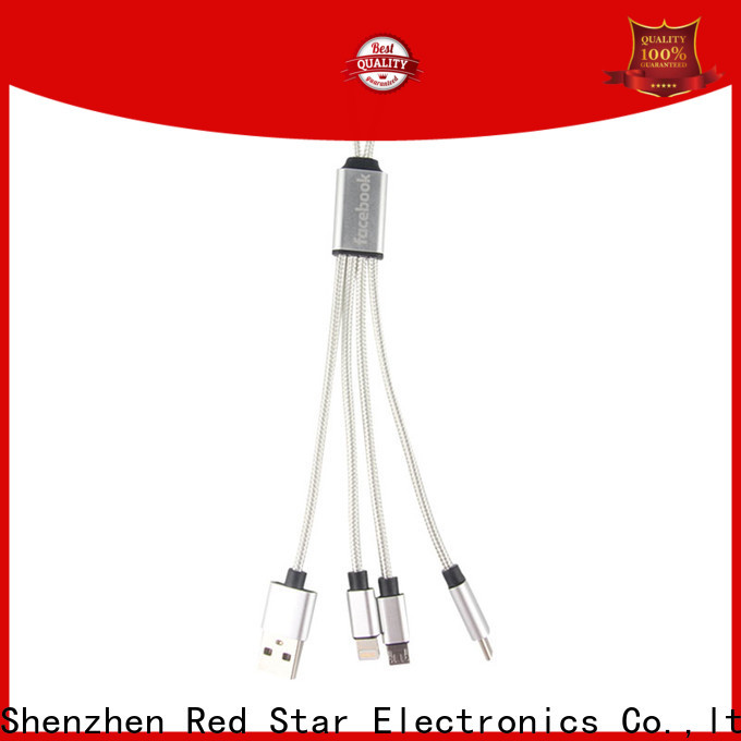 Red Star multi end charging cable with custom logo for phone