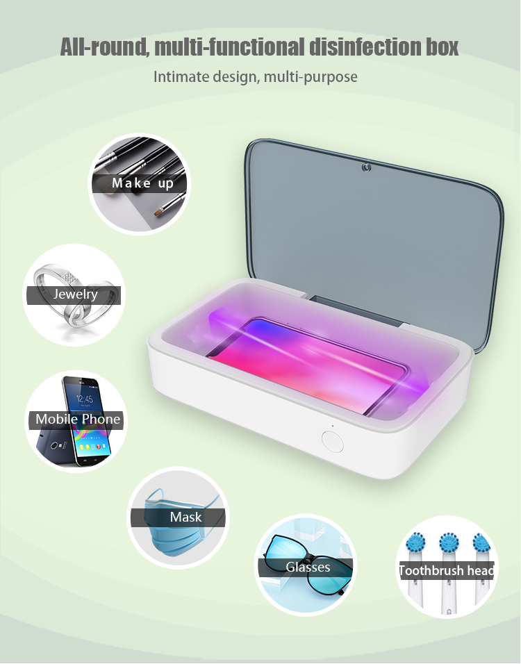 Multi-function UVC LED Disinfection Box with Wireless Charger