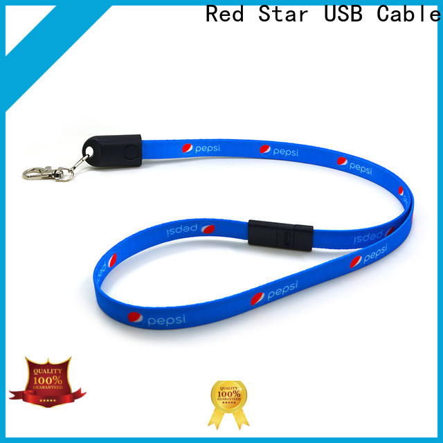 Red Star high-quality lanyard charger cable with easy breakaway for phone