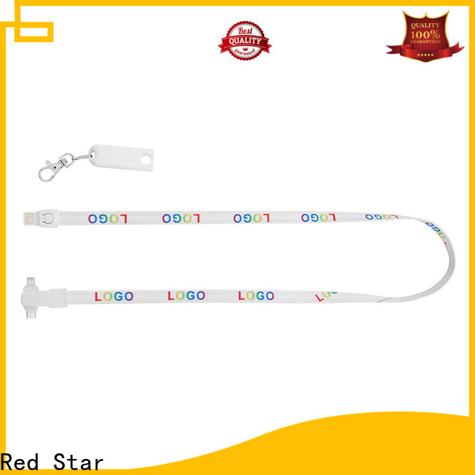 Red Star plastic lanyard charging cable with safety lock for business