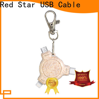 Red Star wheat straw biodegradable charging cable with custom logo for sale