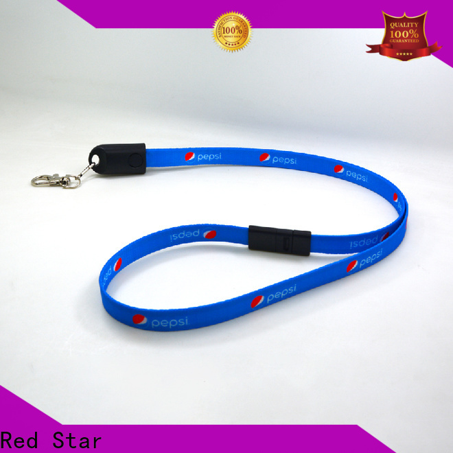 Red Star lanyard usb cable with safety lock for work