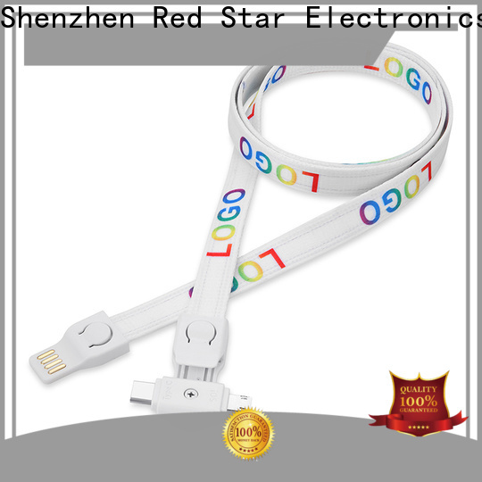 Red Star new lanyard charging cable with custom logo for work