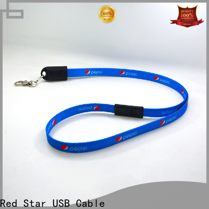 Red Star plastic lanyard charger cable with easy breakaway for work
