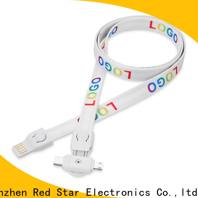 colourful lanyard usb charging cable with safety lock for work
