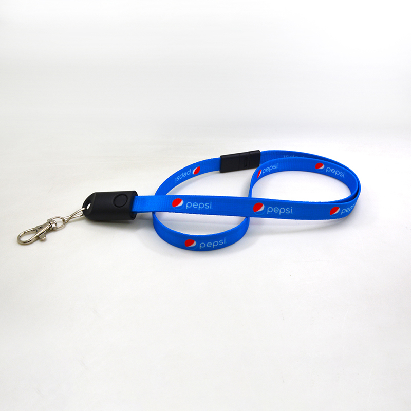 2 in 1 Lanyard Data Cable with Safety Lock for Mobile Phone