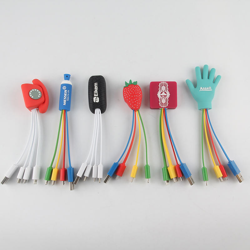 Multiple Custom PVC Head Charging Cable for Mobile Phone
