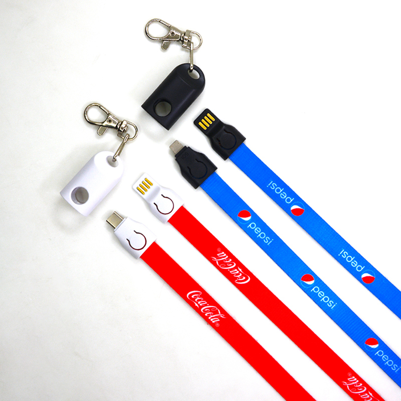 2 in 1 Adapter Lanyard Cable with Safety Buckle for Card Holder