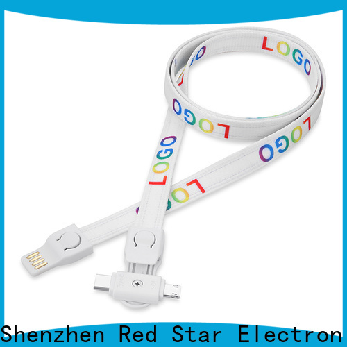 Red Star promotional charging cable lanyard manufacturers for work
