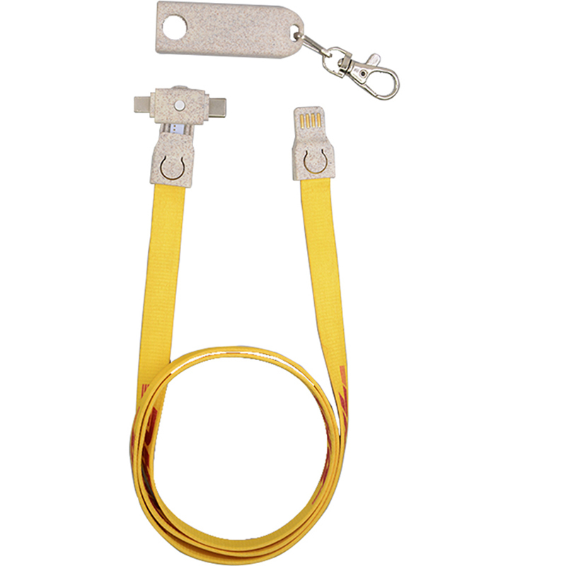Eco-friendly Polyester 3 in 1 Lanyard Charging Cable with OEM Logo