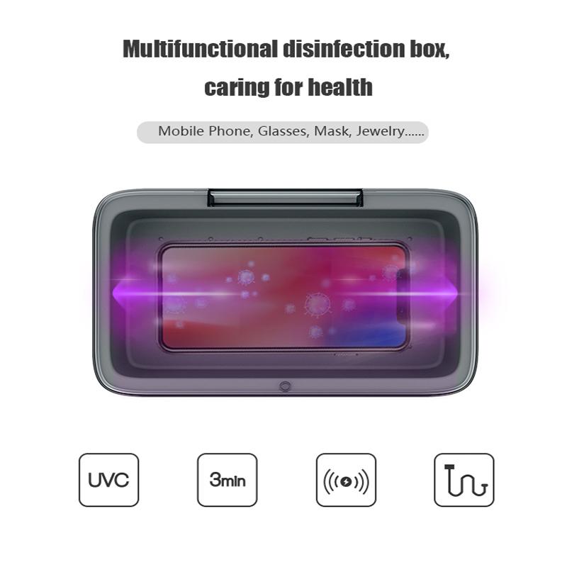 Portable LED UVC Sanitizer Box Sterilization Disinfection Germicidal Lamp Mobile Phones Sterilizer